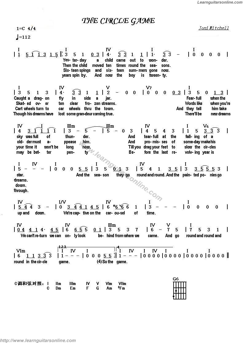 The circle game by joni mitchell free guitar sheet music tabs chords