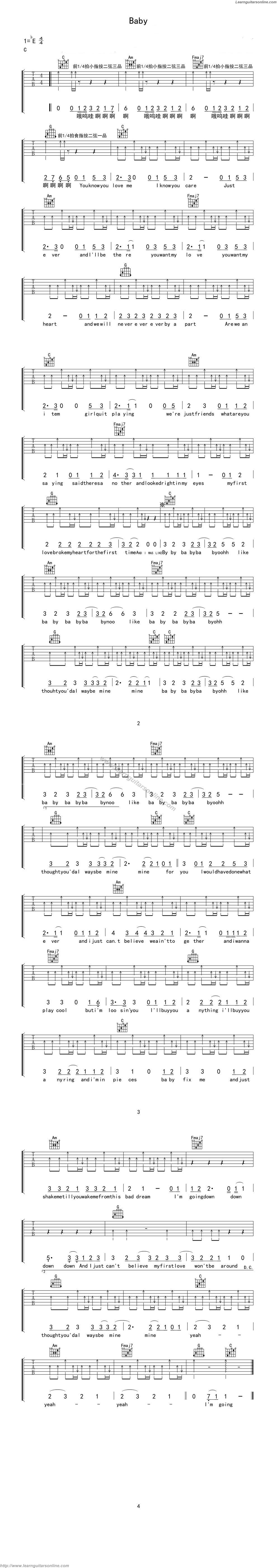 Baby by Justin Bieber Free Guitar Sheet Music, Tabs, Chords, Notes, Solo, Scores