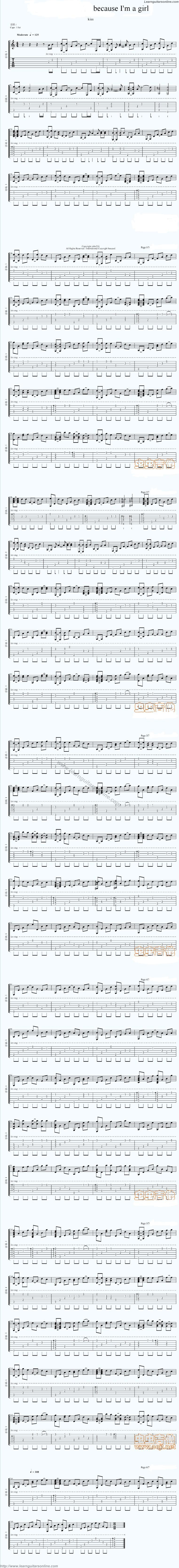 Because I'm A Girl Yeoja Inikka by Kiss Guitar Sheet Music Free