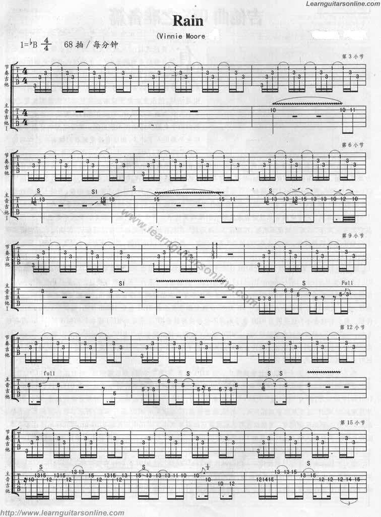 Rain by Vinnie moore Guitar Tabs Chords Solo Notes Sheet Music Free
