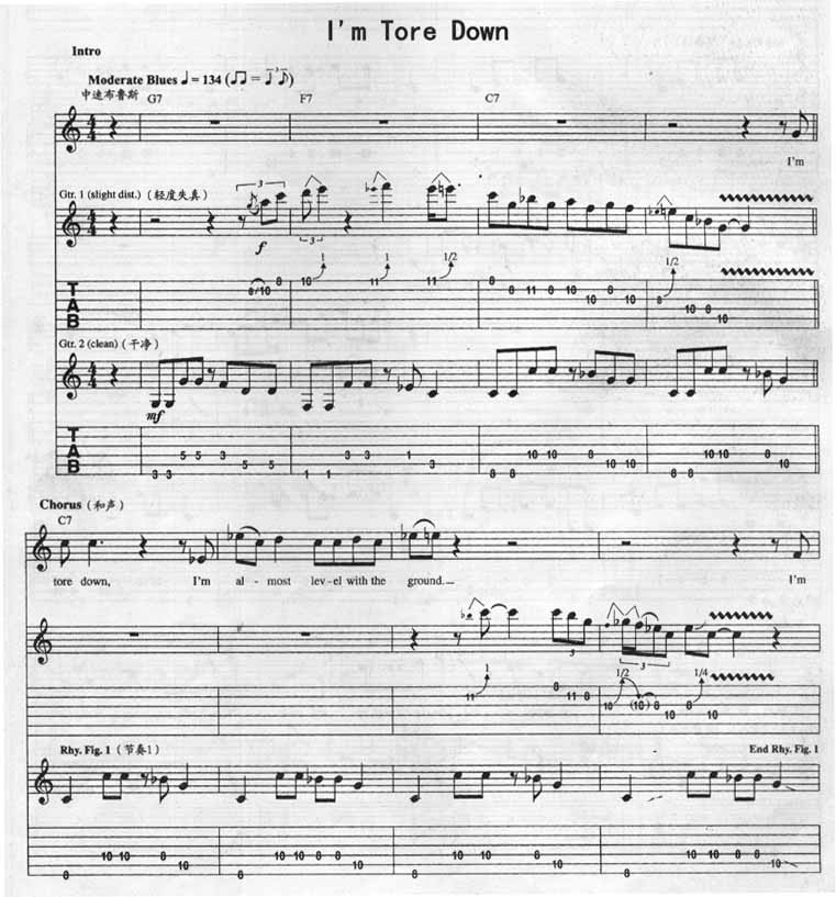 I Am Tore Down By Eric Clapton Guitar Sheet Music Free Free Guitar